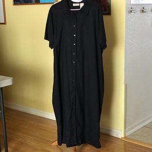 EUC Black linen blend Maxi Dress Button Front